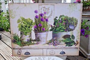 Shabby Blechschild Wandbild Lila Blümchen Haus Garten Retro Antiklook 25 x 33 cm