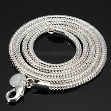 925 Sterling Silver 3MM Snake Necklace Chain Style 16'', 18'', 20'', 22'', 24''