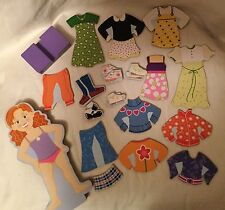 Melissa & Doug Preowned Wooden Magnetic Dress Up Paper Doll Maggie Leigh