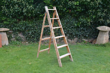 Vintage old wooden decorators retro shabby chic step ladder - FREE POSTAGE