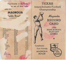 1939 TEXAS HIGH SCHOOL Football Play-off Record Card MAGNOLIA OIL Lubbock - Waco