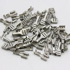 100 Flachsteckhülsen 6,3 mm 0,5-1,5 mm² Steckverbinder blank Kabelschuhe / E5