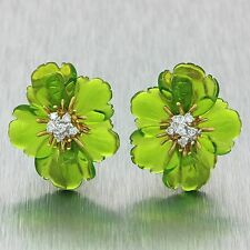 Vintage Estate 18k Solid Yellow Gold Green Glass .25ctw Diamond Flower Earrings