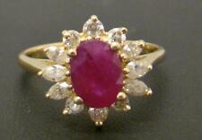 14K YELLOW GOLD RING 1.7 CT OVAL RED GENUINE RUBY 3/4 CTTW DIAMOND 3.6g SIZE 7.5
