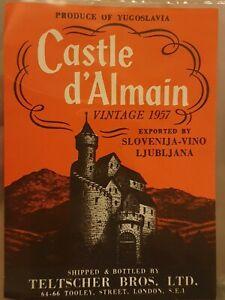 Vintage Castle D'almain 1957 Label. Produce Of Yugoslavia. Exported By...