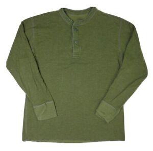 LL Bean River Driver Shirt Men Sz L Two Layer Wool Cotton Green Henley Thermal
