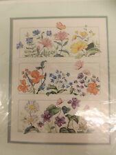 Lovely Vtg 1980s NEW Spring Summer Floral Sampler 11x14 Counted Cross Stitch Kit