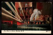 c1910 fire boat in action Buffalo New York postcard