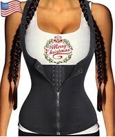 Women Waist Training Trainer Slimming Corset Body Shaper Zipper Plus Size Black