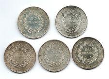 50.Francs HERCULE (ARGENT) 5.Piéces 1974/76/77/78/79 SUP