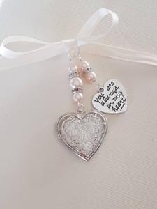 "Wedding Bouquet Charm Embossed Silver Heart Locket,  ""always in my heart"" charm"