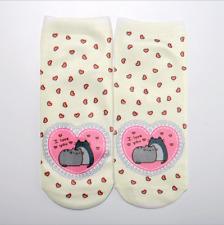 1Pair Romantic Cat Love Print Unisex Fashion Sock Men Women Low Cut Casual Socks