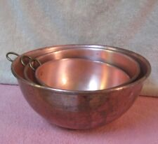 "Set (3) Large Vintage Solid Copper Mixing Bowls 12"" 10"" 8.5"""