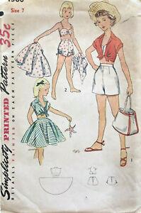 Vintage 1950s Simplicity 4360 Sewing Pattern Girl Size 7 Shorts Skirt Bra Shirt