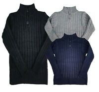 Girls Cable Knitted Jumpers Kids Top Pullover Knitwear Button Up Polo Neck Top