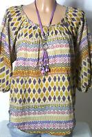 MANGO Tunika Gr. S bunt 3/4-Arm Hippie Folklore Indianer Muster Bluse Tunika