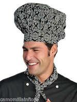 CAPPELLO x Pasticcere Chef CUOCO Classico Taglia Unica NERO + Fantasia Bianca