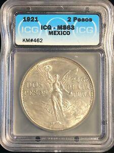 1921 Mexico 2 Dos Pesos MS 63 Independence Centennial Silver Coin KM #462