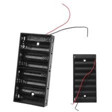 DIY ABS Storage Box Case With Wire No Cover Switch Holder For 8x 1.5V AA Battery