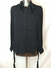 YSL YVES ST  LAURENT Black Belted Long Sleeve Uniform Blouse Top Size MED