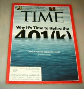 Time Magazine October 19, 2009 Why It's Time To Retire The 401k Afganistan