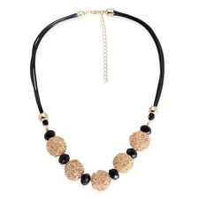 """Simulated Black Spinel Necklace In Rose Gold Tone Size 18""""-20"""""""
