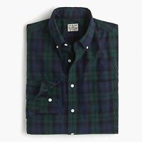 J.CREW Stretch Secret Wash Shirt BLACK WATCH TARTAN NAVY GREEN K4204 XS L *plaid