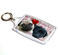 Pug Keyring Dog Key Ring Pugs Black & Fawn Pug Gift Xmas Gift Mothers Day Gift