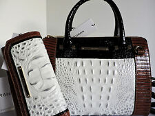 Brahmin Anywhere Convertible Halo Amado Leather Tote Bag + Checkbook Wallet NWT