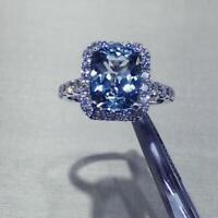 4Ct Cushion Cut Tanzanite Halo Engagement Ring Solid 14K White Gold Finish