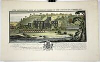 1739 Hand Colored Engraving Lanercost-Priory Castle Ruins County of Cumberland