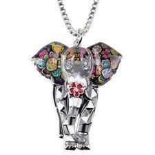 Enamel Alloy Elephant Necklace Pendant Choker Animal Jewelry For Women Kid Charm