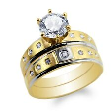 10K/14K Yellow Gold Duo Set Two Tone Engagement Ring Round CZ Embedded Size 4-10