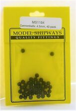 "Model Shipways Fittings MS 1184 Black Cannonballs 5/32"" (4.5MM). 40 Per PK. NEW"