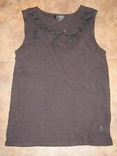 Sanctuary black linen blend top size S Small *NEW* embroidery anthropologie