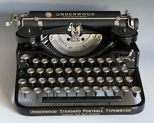 Vintage Underwood Standard Four Bank Portable Typewriter with Case