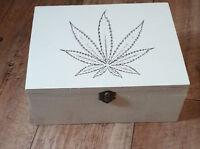Wooden box Large Cannabis leaf marijuana theme weed stash  420 stoner gift