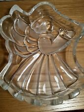 "Mikasa ""Heavenly Song"" Angel Clear Glass Crystal Holiday Candy Dish Germany NIB"