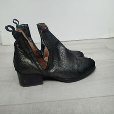 Jeffrey Campbell Oriley Leather Cut-Out Ankle Boots Womens Sz 7.5 metallic g5
