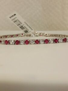 Lab-Created Ruby & Lab-Created White Sapphire Sterling Silver Tennis Bracelet