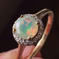 Beautiful EXOTIC Rainbow Welo Opal & White Sapphire Halo 10k Gold Ring Sz 6.5