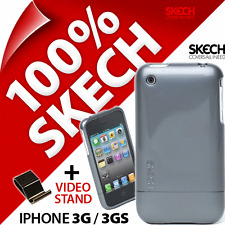 New Skech Shine Case for iPhone 3G 3GS Titanium Grey Armour Hard Cover+Stand