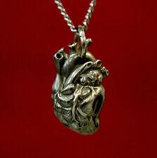 Human Heart Pendant Necklace Anatomically Correct Oxidized Black Bronze 154