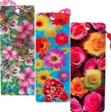 3 Bookmarks - 3D Lenticular - FLOWERS BUTTERFLIES with Tassles COLORFUL BEAUTY