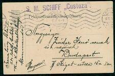 "1914, Hungary Naval card, ship ""CUSTOZA"" bold purple single straight line cancel"