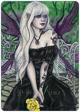 ACEO LE PRINTS Fairy english garden yellow rose purple flowers gothic tattoos wc