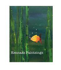 "GoldFish Nemo Like Acrylic Painting 8 "" X 11"" By Kenna Unframed Original"