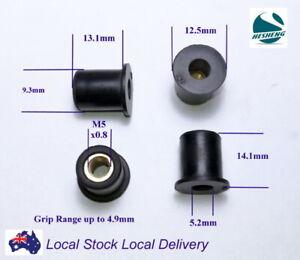 Qty 20 M5 14mm Rubber Brass Insert Wellnut Well Nut Windscreen Fairing