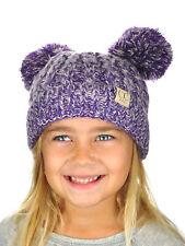 New! C.C Kids' Children's Cable Knit Double Ear Pom Cuffed CC Beanie Cap Hat