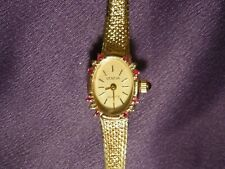 Women's Geneva Stainless Steel Diamond & Ruby Gold Tone Wrist Watch Marked Italy